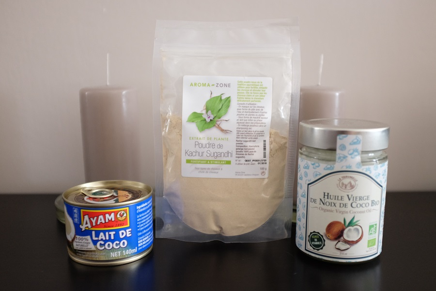 lait de coco, huile de coco, poudre de kachur sugandhi