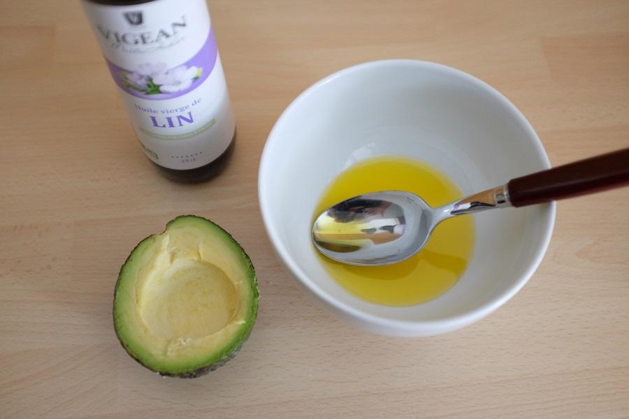 huile de lin - avocat ouvert