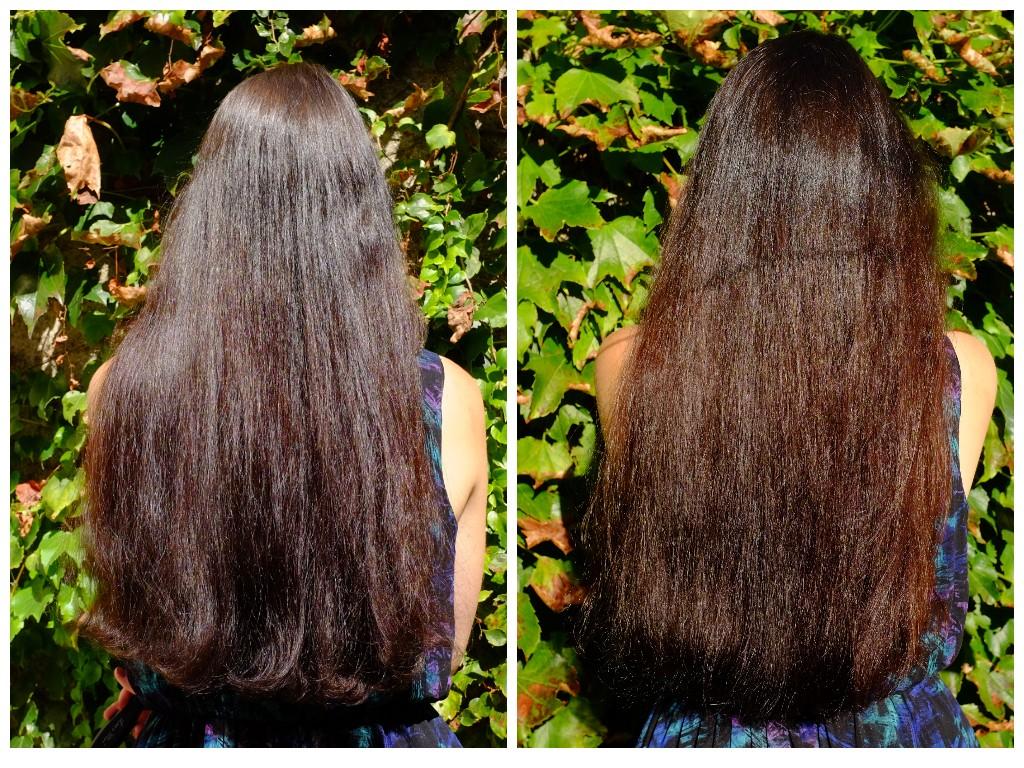 Résultat avant/après, au soleil, de la couleur et du soin Radico le jour même