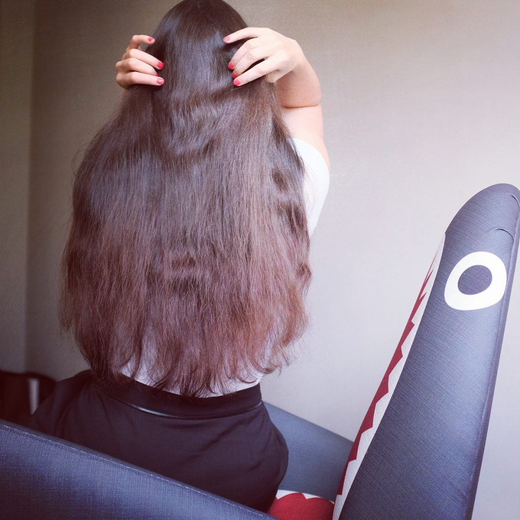 résultat cheveux Lauren Inthehair - après-shampoing Eco Cosmetics