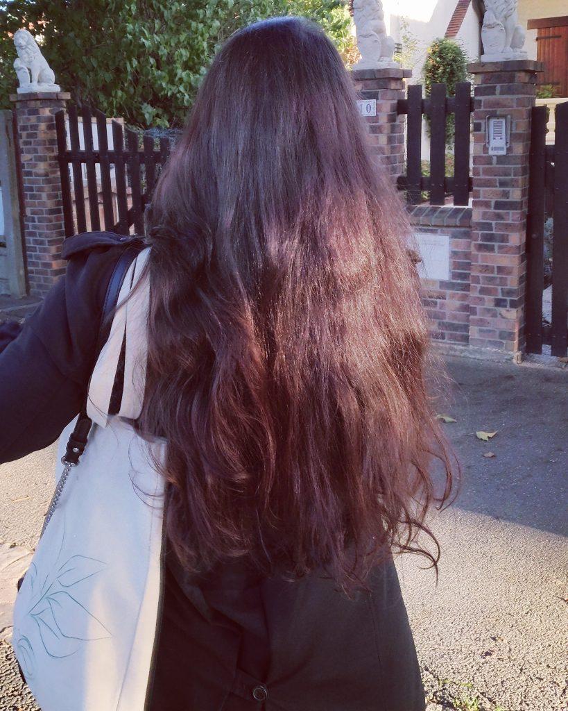 résultat cheveux Lauren Inthehair - baume démêlant karité verveine citron Cosmo Naturel - lotion hamamélis Codina