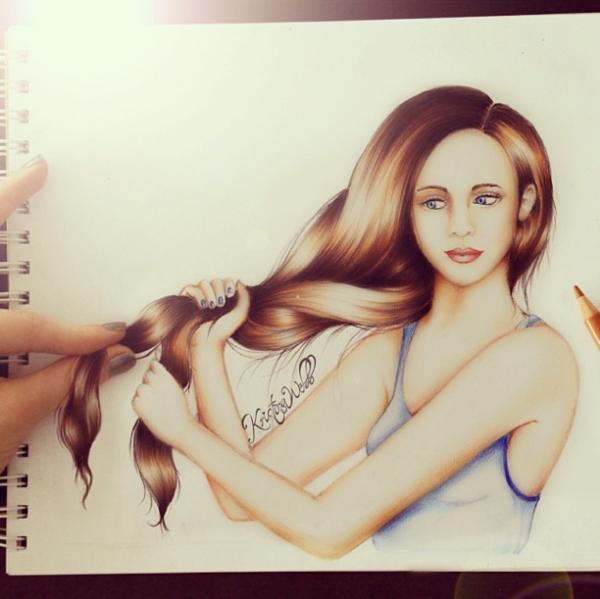 Kristina webb drawing pull hair