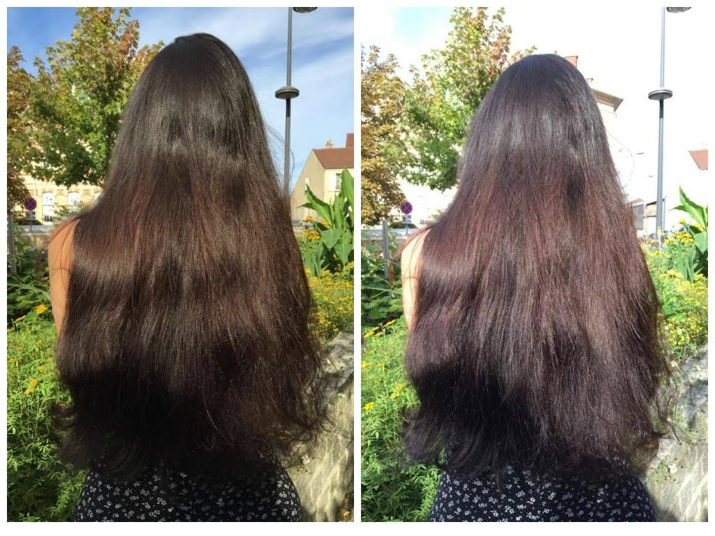 Résultat 3 jours après, au soleil, après cheveux brossés - sans flash - avec flash